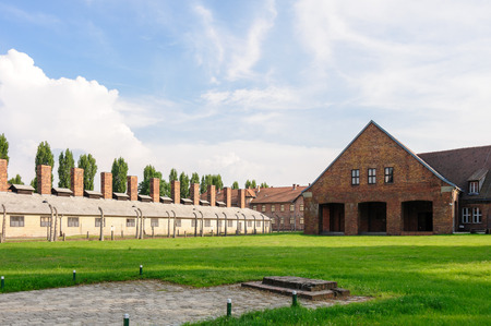 death camp: Auschwitz I - Birkenau exit from reception building where new prisoners were processed (deloused, shaved, tattooed, etc.) and registered