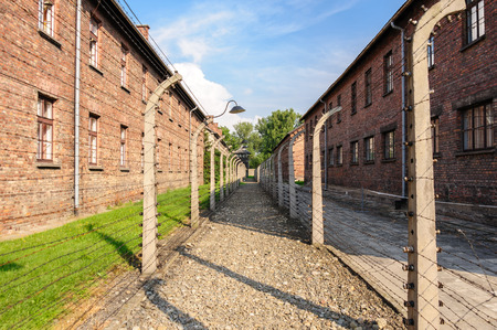 perimeter: Auschwitz I - Birkenau in between the inner and outer north east perimeter fence Editorial