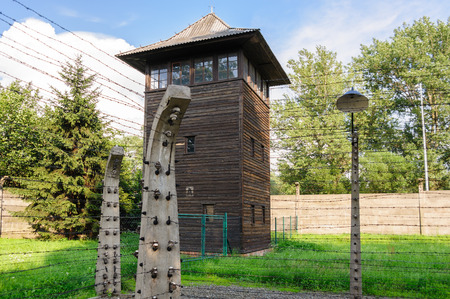 birkenau: Auschwitz I - Birkenau watch tower and electrified fences at the east corner Editorial