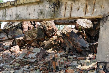 crematorium: Auschwitz II - Birkenau crematorium II ruins with what remains of the chimney wing