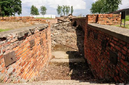 crematorium: Auschwitz II - Birkenau Crematorium III entrance to the underground disrobing chamber