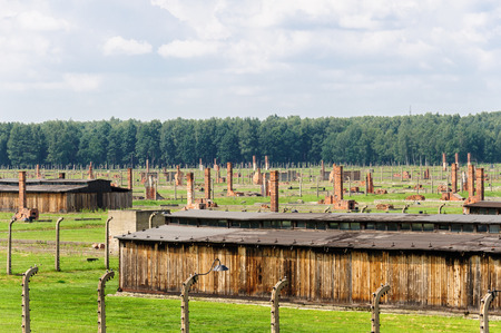 death camp: Auschwitz II - Birkenau, Sector II as viewed from the Gate of Death watch tower Editorial