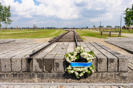 commemorative: Auschwitz II - Birkenau commemorative wreath placed at the end of the rail tracks