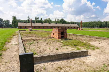 death camp: Auschwitz II - Birkenau, Block 22 ruins and whats left of the heating stoves, at Sector II, with the kitchen in the background Editorial