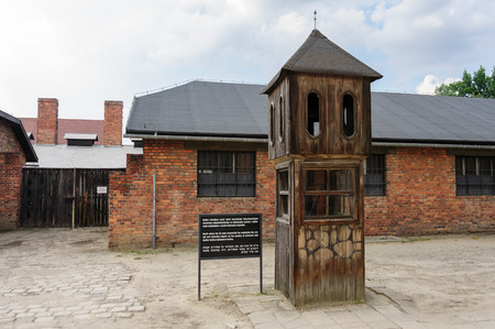 inclement: Auschwitz I - Birkenau booth where the officer taking roll-call would take shelter in inclement weather
