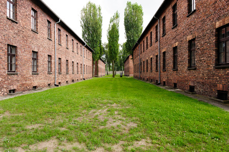 death camp: Auschwitz I - Birkenau Blocks 15 and 16 used for the mens barracks have exhibits devoted to the various nations that were victimized by the Nazis. Editorial