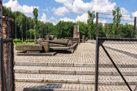 auschwitz: Auschwitz II - Birkenau International Monument to the Victims of Auschwitz at the end of the rail tracks
