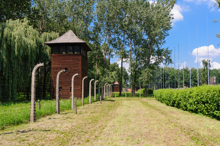 birkenau: Auschwitz II - Birkenau, large watch tower behind the International Monument Editorial