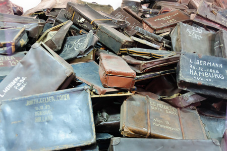 birkenau: OSWIECIM, POLAND - JULY 3, 2009: Auschwitz I - Birkenau, suitcases collected from prisoners exhibited in Block 5 as Material Evidence of Crimes committed