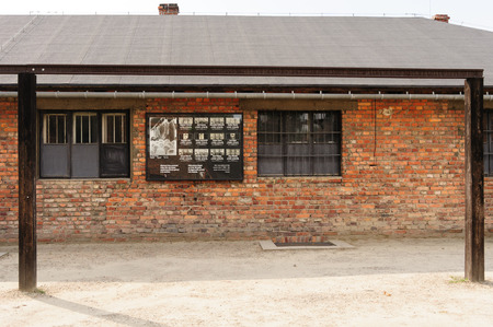 birkenau: OSWIECIM, POLAND - JULY 3, 2009: Auschwitz I - Birkenau gallows in front of the kitchen where prisoners were publicly hanged Editorial