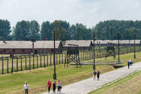 birkenau: OSWIECIM, POLAND - JULY 3, 2009: Auschwitz II - Birkenau Sector I barracks and watch towers with inner perimeter electrified fence