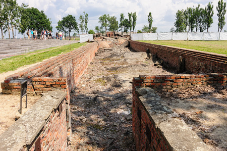 death camp: OSWIECIM, POLAND - JULY 3, 2009: Auschwitz II - Birkenau, entrance to the underground disrobing chamber where the roof has collapsed into the chamber