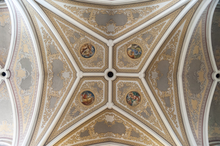 vaulted: RADOM, POLAND - JULY 4, 2009: Holy Virgin Mary Cathedrals vaulted ceiling and frescoes