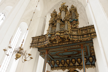 rebuilt: GDANSK, POLAND - JULY 6, 2009: Merten Friese organ case from 1629, rebuilt with new Hillebrand instrument at St. Marys Basilica
