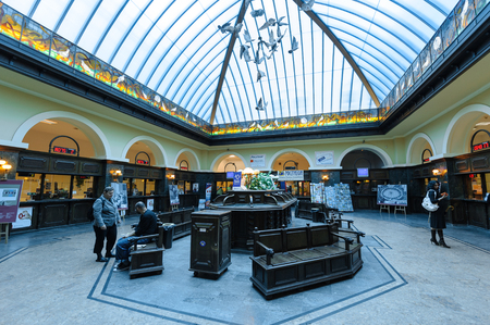atrium: GDANSK, POLAND - JULY 6, 2009: Main post office on Langgasse with its blue curved stained glass atrium, simulating an aviary Editorial