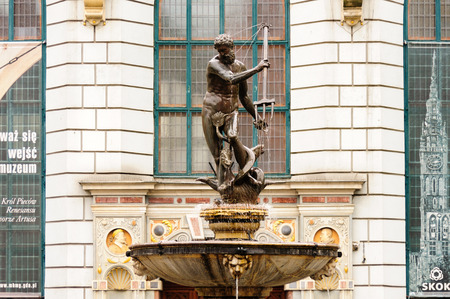 mannerism: GDANSK, POLAND - JULY 6, 2009: Neptunes Fountain by Piotr Husen cast in 1615 and erected in 1633 on Long Market street in front of Artus Court