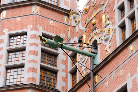 arsenal: Closeup of the dragon-faced spouts of the Great Arsenal or Great Armoury, in Gdansk