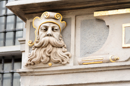 armory: Closeup of a face on the Great Arsenal or Great Armoury, in Gdansk