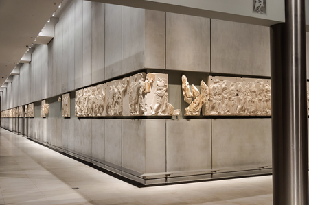 frieze: ATHENS, GREECE - JANUARY 28, 2011: Frieze on the 3rd level of the New Acropolis Museum, at night with no people Editorial