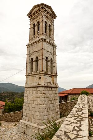 belfry: Stone belfry of church of Evaggelistria (Annunciation) at Karytena, Greece