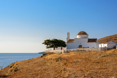 kyklades: Small church of Panagia Flampouriani (Virgin Mary of Flampouriani) with a tiled cupola at Flampouria in Kythnos, Greece