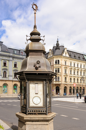 meteorological: Meteorological weather station column at the old town square in Liberec