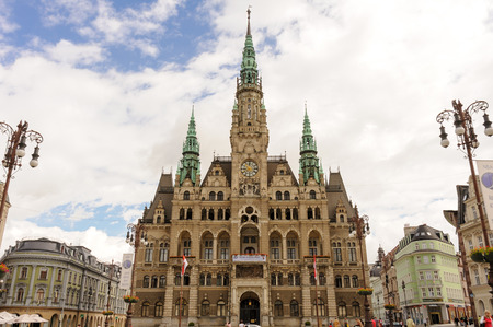 dr: LIBEREC, CZECH REPUBLIC - JULY 8, 2009: Neo-renaissance style Town Hall at Dr. E. Benese square in the old town