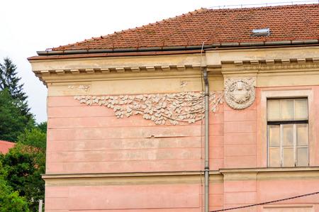 sola: LJUBLJANA, SLOVENIA - JULY 9, 2009: Art Nouveau relief detail on the former St. Jakobski school at Levstikov trg 1 square Editorial