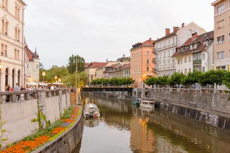 provisional: LJUBLJANA, SLOVENIA - JULY 9, 2009: Ljubljanica river and provisional wooden footbridge until the Grain Bridge is built