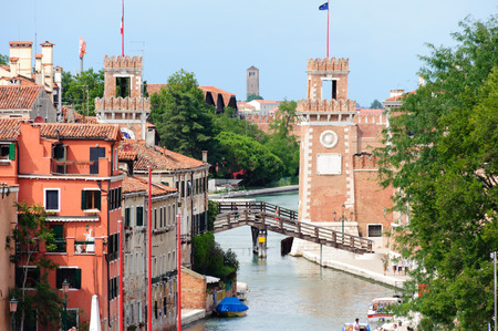 VENICE, ITALY - JULY 10, 2009: The Venetian Arsenals entrance as seen from the lagoon Editorial