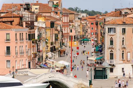 via: VENICE, ITALY - JULY 10, 2009: Via Giuseppe Garibaldi as seen from the lagoon