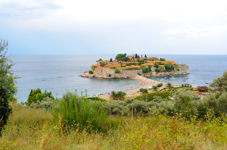 isthmus: Aman Sveti Stefan islet connected to the mainland by a narrow isthmus