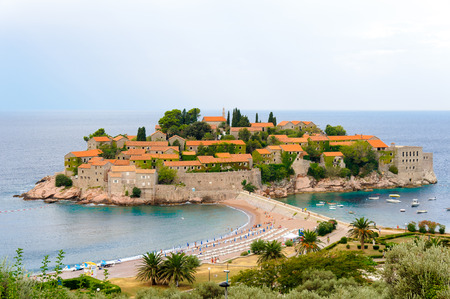 the mainland: Aman Sveti Stefan islet connected to the mainland by a narrow isthmus
