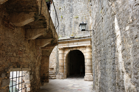 fortification: Kotor old town medieval fortification ramparts and defensive outer walls Stock Photo