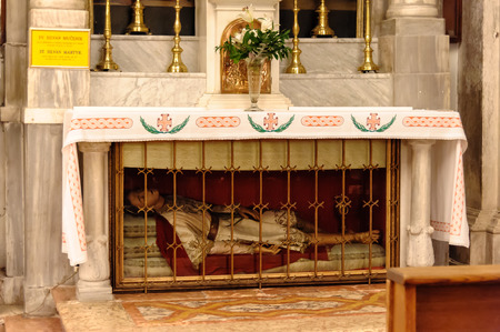 relics: DUBROVNIK, CROATIA - SEPTEMBER 1, 2009: Relics of St. Silvan Martyr at the epistle inside St. Blaise church Editorial