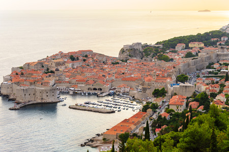birdseye: Birds-eye view of Dubrovnik old city from the east at sunset