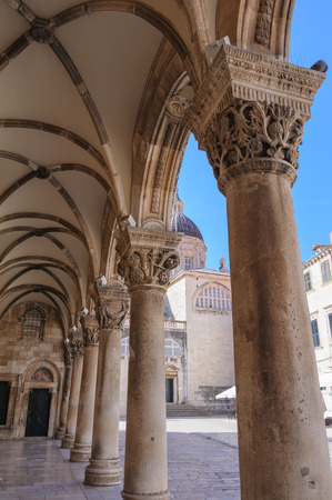 Rectors palace porch and vaulted arcade with Renaissance styled individualized column capitals