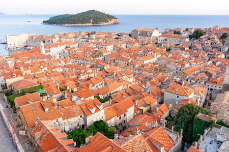 birds eye: Birds eye view of the old city of Dubrovnik and Locrum island Stock Photo