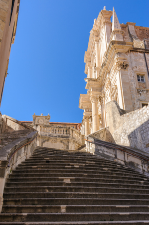 collegium: Staircase leading up to the Jesuit Church of St. Ignatius Loyola and the old Collegium Ragusinum in Dubrovnik