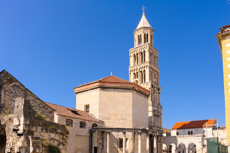 roman pillar: St. Domnius cathedral (Diocletians mausoleum) and bell tower in Split, Croatia