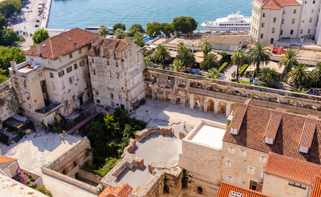 september 2: SPLIT, CROATIA - SEPTEMBER 2, 2009: South east aerial view of Diocletians palace walls