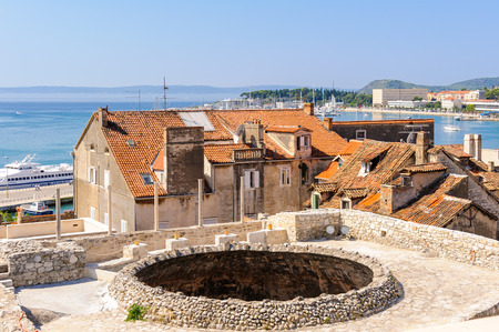 september 2: SPLIT, CROATIA - SEPTEMBER 2, 2009: View of the Vestibule oculus from the bell tower
