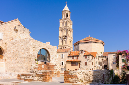 ethnographic: View of St. Domnius cathedral, bell tower and ethnographic museum