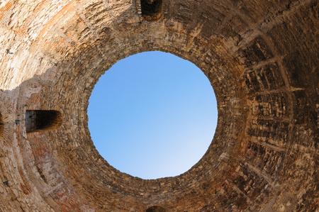 mediterranean interior: Interior view of the Vestibule and oculus of Diocletians palace in Split, Croatia Stock Photo
