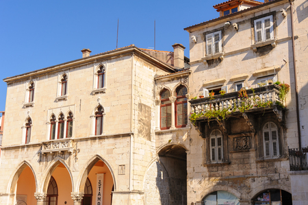 september 2: SPLIT, CROATIA - SEPTEMBER 2, 2009: Extension to the Spalato old town hall in flowered gothic style