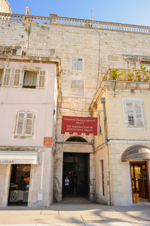 substructure: SPLIT, CROATIA - SEPTEMBER 2, 2009: Service entrance to Diocletian Palace through the south walls from the Riva, incorrectly referred to as the Porta Aenea (Bronze Gate)