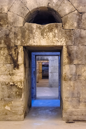 SPLIT, CROATIA - SEPTEMBER 2, 2009: Arched passage in the substructures of Diocletians Palace