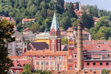 sarajevo: Sarajevska Pivara brewery building which opened in 1864, as viewed from Alifakovac in Sarajevo, Bosnia and Herzegovina