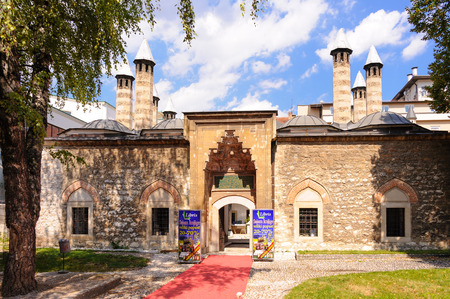 secondary school: SARAJEVO, BOSNIA AND HERZEGOVINA - SEPTEMBER 4, 2009: Gazi Husrev-beg Madrasah (aka Kursumli Madrasah), is the oldest Islamic secondary school in the Balkans, established in 1537 AD.