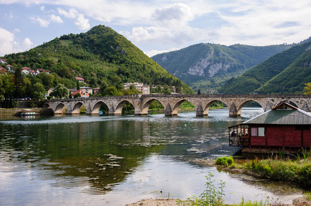 mehmed: VISEGRAD, BOSNIA AND HERZEGOVINA - SEPTEMEBER 4, 2009: Mehmed Pasa Sokolovic bridge constructed between 1571 and 1577 by architect and engineer Mimar Sinan.
